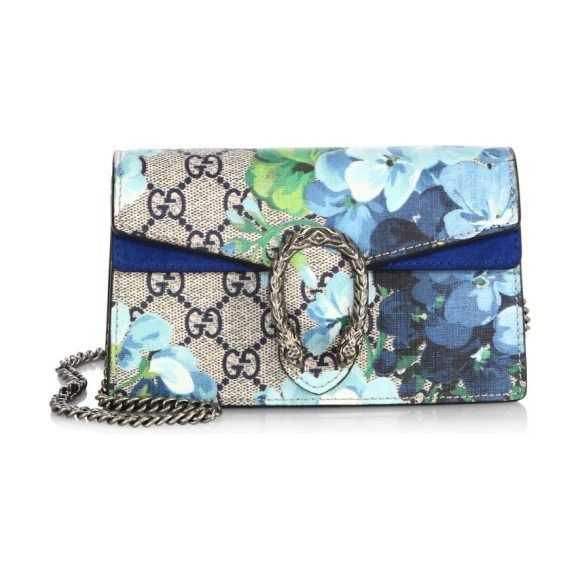 dionysus gg blooms mini chain shoulder bag by Gucci. A structured Blooms GG Supreme canvas chain super mini bag with a key ring that can be used to attach this bag to a s...