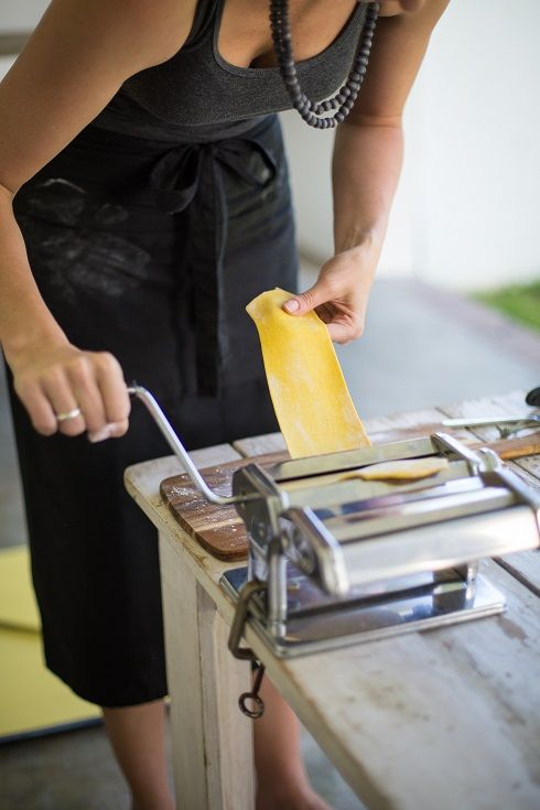 Rolling out fresh pasta sheets for our bobotie pappardelle. http://www.thefoodfox.com/2014/02/17/bobotie-with-yellow-pappardelle-and-poached-egg/