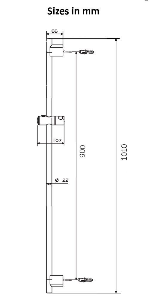 RBN Shower Riser Rail with Height Adjustable Sliding Handset Holder Bracket, Chrome Finish - bath-accessories.co.uk