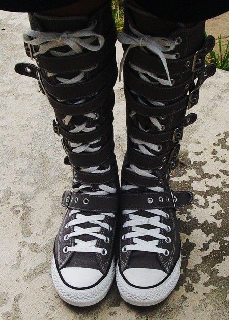2015 Stylish knee high converse sneaker boots, converse straps high top sneakers, lace up knee high boots