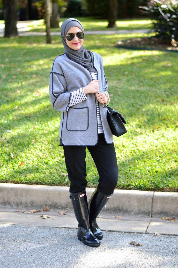 fall outfit black hunter boots hijab fashion  love
