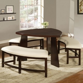 @Overstock - Upgrade your home decor with this triangle-shaped table and three backless benches. This Paradise dining set features faux-leather beige seats and accommodates up to six guests.http://www.overstock.com/Home-Garden/Paradise-Dining-Set/6479106/product.html?CID=214117 $697.99: Decor, Dining Rooms, Ideas, Bench, Triangle, House, Kitchen, Dining Sets, Dining Tables
