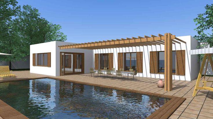 Dise o casa r stica moderna renderizado 3d casa for Casa moderna rustica