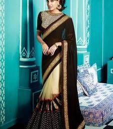 Buy Lisa Hayden Black Creame Designer saree designer-embroidered-saree online