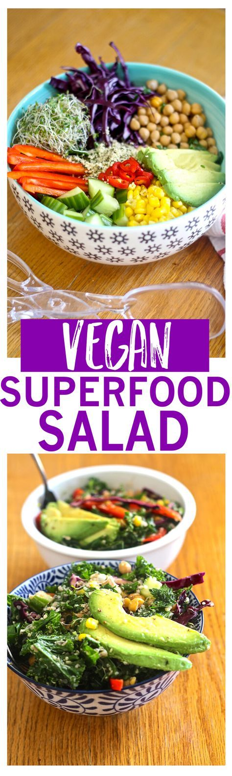 Superfood Salad is deliciously vegan with kale, chickpeas, avocado and more!