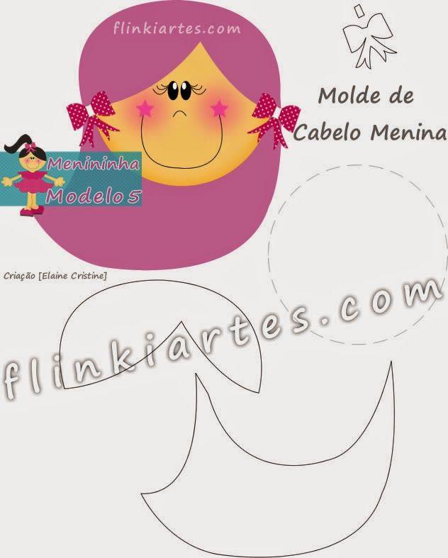 Molde de Cabelo Rosa, Verde, Vermelho, Amarelo, para Bonequinha Plana em EVA - Capa de Caderno Decorada.