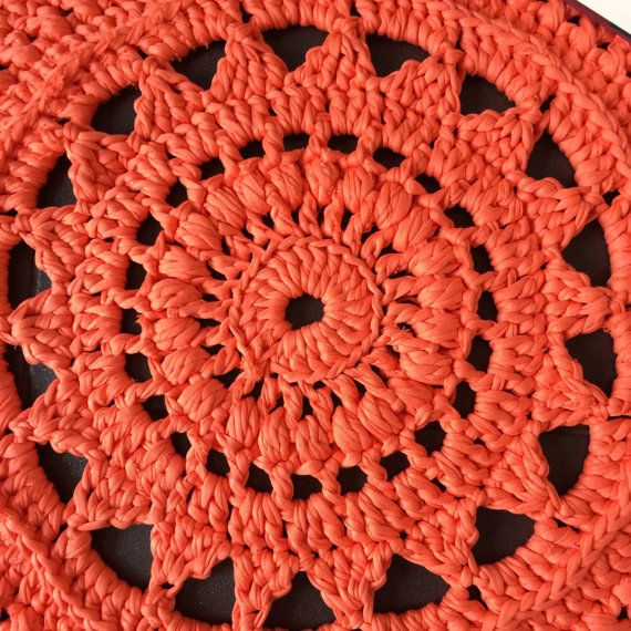 Crochet Doily Rug Coral by ColouredYarn on Etsy