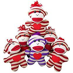 Striped Sock Monkey with Heart Plush Stuffed Animal, Case of 6