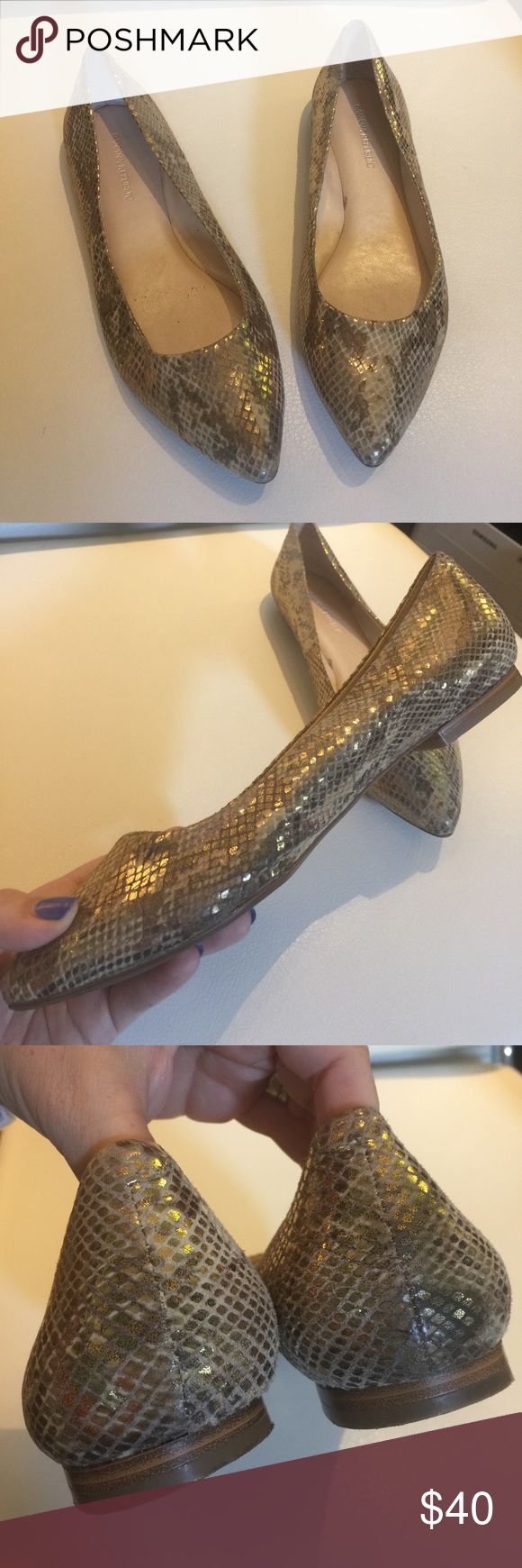 Banana Republic Gold Snake Skin Pointed Flats Banana Republic Gold Snake Skin  Pointed Flats.  Chic and elegant animal print gold Flats.  Cute dresses up or down.  Slight wear on bottoms but overall great condition. Banana Republic Shoes Flats & Loafers