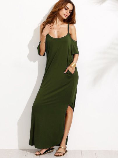 Bolsillo de bolsillo del ejército verde frío hombro partido maxi vestido   160825565   9.64€