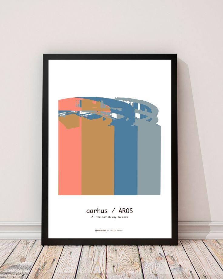 AROS in AARHUS   The danish way to rock / Posters - Serien 'The danish way to rock' er bygninger og monumenter fra det danske land. Tag med på turen rundt i Danmark. Serien er lavet helt fra bunden, startende med et fotografi og bearbejdet i Illustrator. Fin og kunsterisk, med flotte og klare farver.  Trykt på ubestrøget miljøvenligt papir. www.plakatwerket.dk