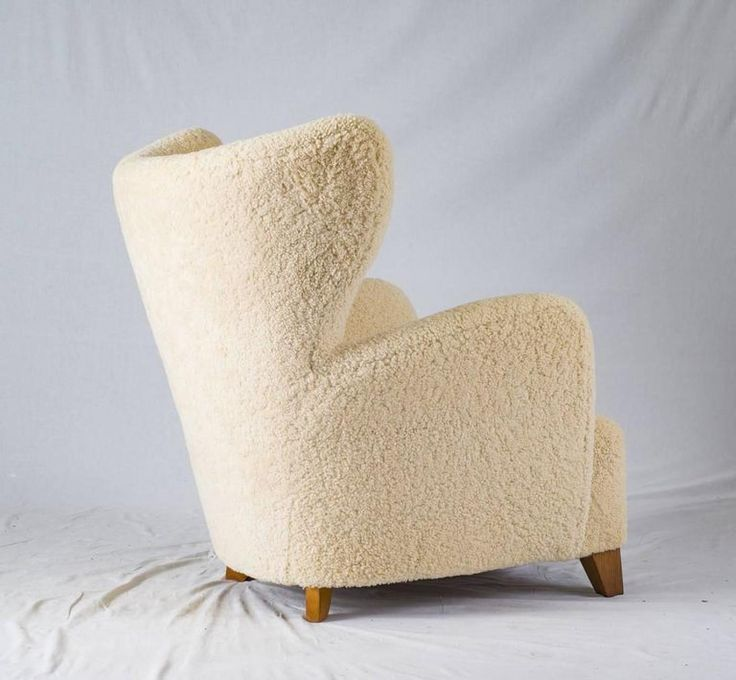 Pair Of Scandinavian Sheepskin Lounge Chairs Offered By Denmark 50 On  InCollect
