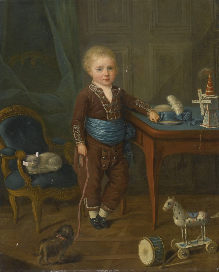 18th c. Portrait of a young boy with his toys, French School