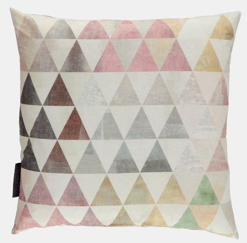 Bomull natur/rosa/grön melerad trekant