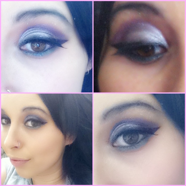 Eyes today it's so hard to take a photo of them. iPhone just doesn't cut it. Today I went purple and white with blue eyeliner looks better in person haha with better lighting