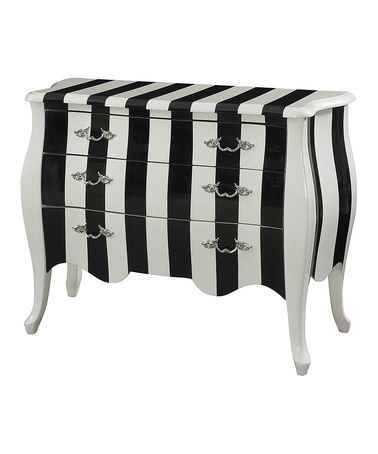White & Black Stripe Chest -Silver Finish Drawer Pulls are a Nice Touch!! Zulily.com