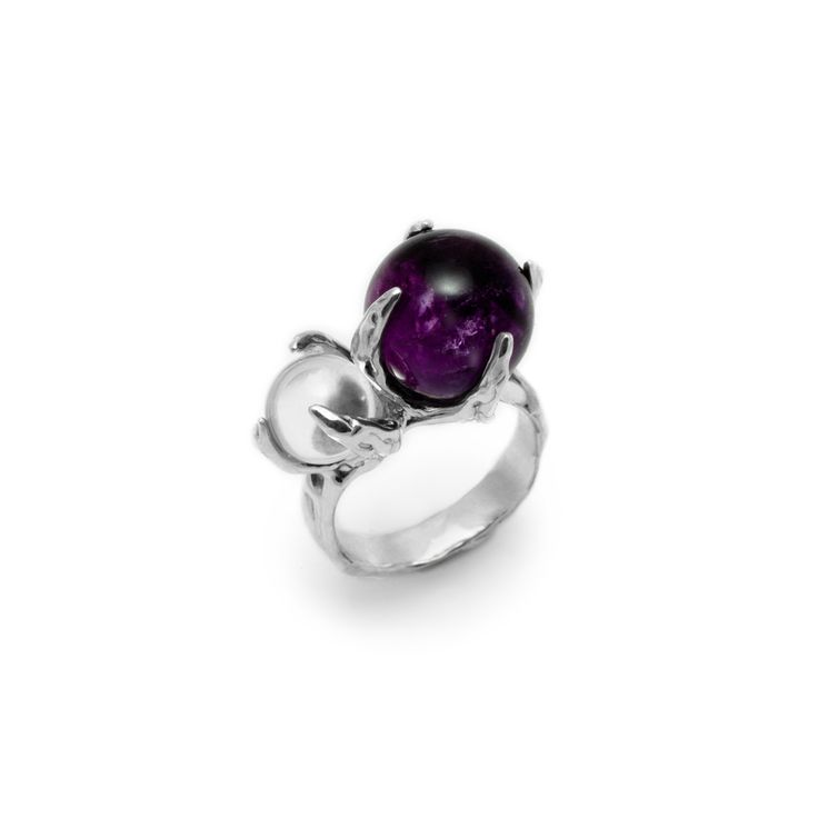 SPHERE RING SPUTNIK WITH AMETHYST AND CLEAR QUARTZ #pulse_jewellery  #sterling #silver #925 #jewellery #jewelry #ring #rings #fluid #liquid #sphere #gemstone #clear #quartz #amethyst