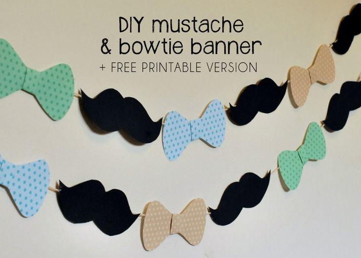 DIY Mustache and Bowtie Banner