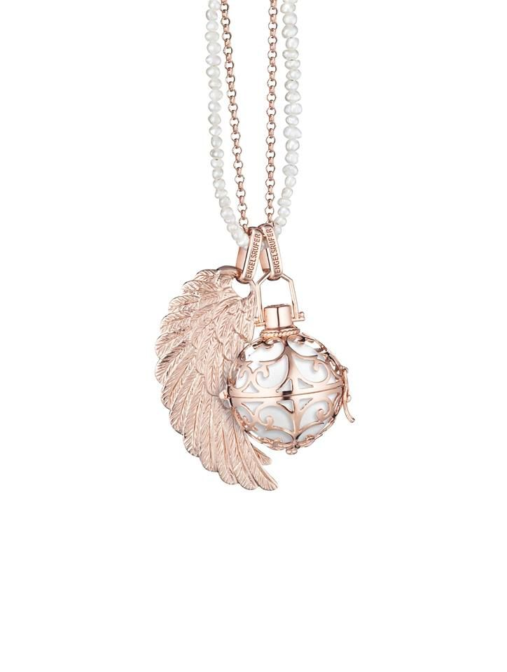 Engelsrufer Wing Pendant for Women 925-Sterling Silver with White Crystals 29 mm PDVhhcu