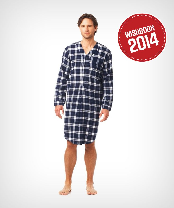 Lounge in comfort this winter in a classic men's flannel nightshirt