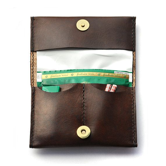 Leather Tobacco Pouch, Rolling Tobacco Case - Handmade - Dark Brown - The Ruston From Shire Supply Company
