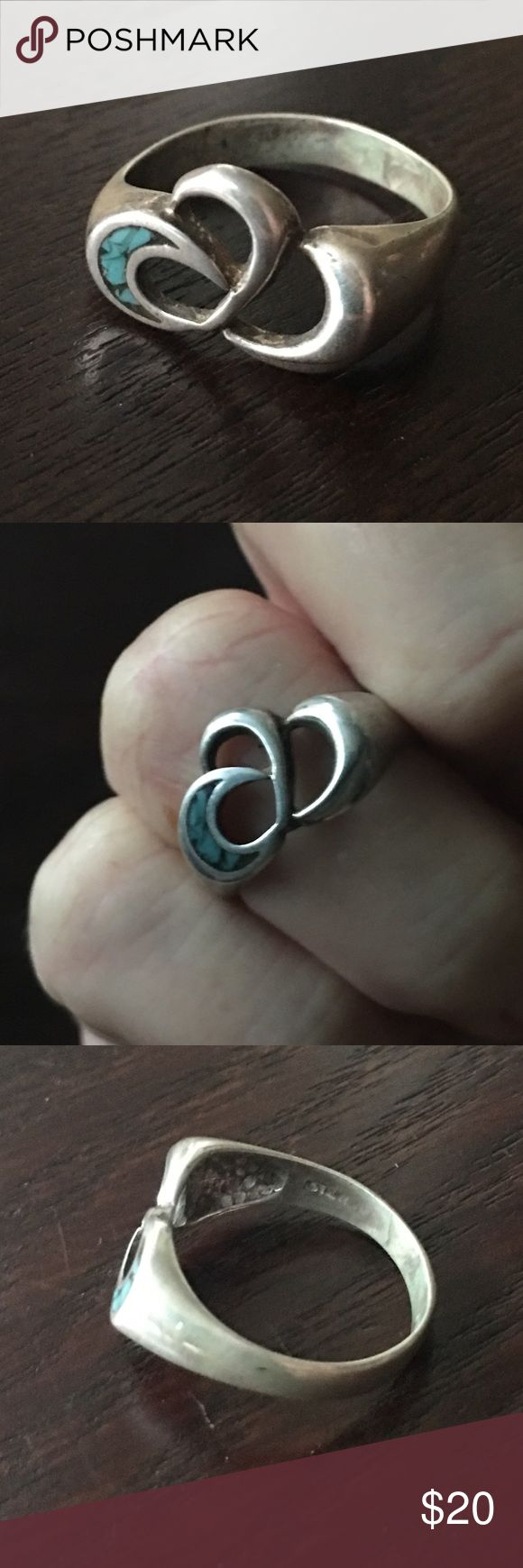 """Sterling silver Turquoise crescent moon ring Sterling silver crescent moon ring. Vintage elegant design, some patina present. Pretty chipped Inlay turquoise inside moon. Marked """"Ster"""" for Sterling inside the band. Jewelry Rings"""