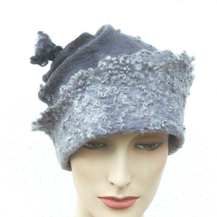 Felted Hat Handmade Merino wool -  A unique grey cap by MajorLaura on Etsy