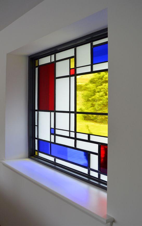 "Mondrian Stained Glass. Installing Cat.M's new ""Mondrian"" inspired stained glass window. Kilmacolm, Scotland. www.rdwglass.com"