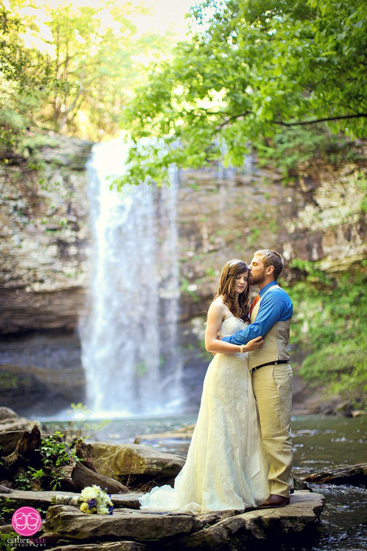 outdoor wedding ceremony sites in akron ohio%0A Bride and Groom Portrait by Waterfall   Cloudland Canyon State Park  Wedding  GamesWedding VenuesWedding