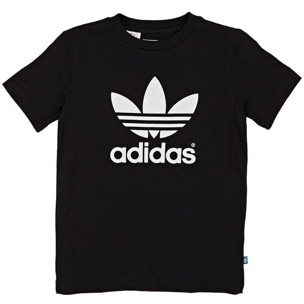 Adidas Originals J Trefoil T-shirt Black/white ($23) ❤ liked on Polyvore featuring tops, t-shirts, trefoil tee, adidas originals tee, adidas originals, adidas originals t shirt and black white top