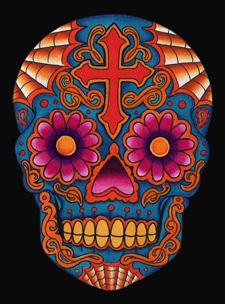 Dia Skull by Lil Chris Mexican Death Mask Sugar Skull Canvas Art Print – moodswingsonthenet
