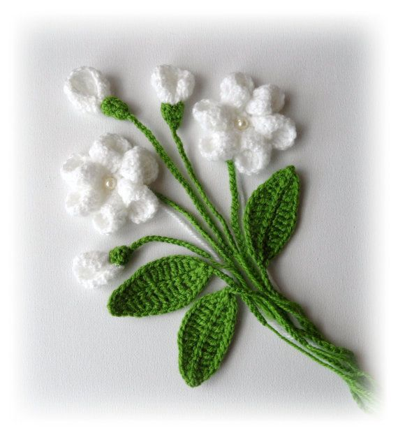 Hand Crochet Appliques Set  Flowers and Leaves by CraftsbySigita