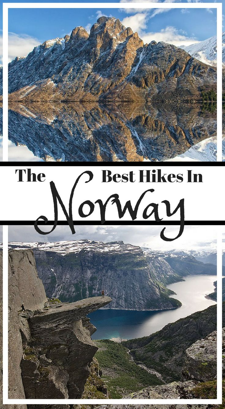 The best hikes in Norway. The beauty of hiking in #Norway is that it can be undertaken at almost any age, young to old, because there are as many different landscapes as there are levels of ability. Ranging from gentle or mildly strenuous to tough and downright dastardly, the hikes in Norway are some of the best in the world, and here are just a few of them. Click to read the full blog post by America's Adventure Couple the Divergent Travelers  #Hiking #Adventure