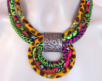 Red jewelry set/ african fabric necklace by nad205 on Etsy