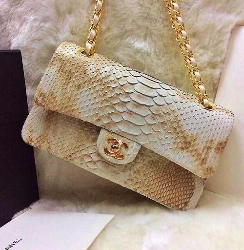 Chanel Snakeskin white and gold 2.55 bag