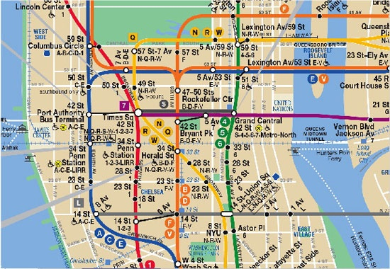 Nyc Midtown Area Subway Map New York City The Arts
