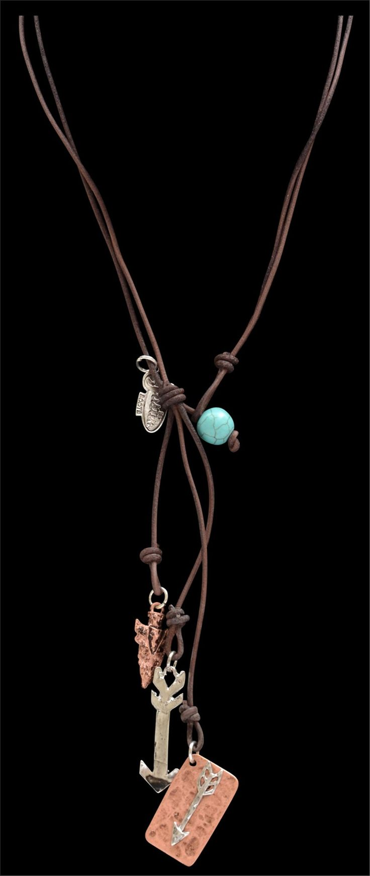 "Justin Western Jewelry Womens Necklace Leather Arrow 16"" Brown JN9484A"