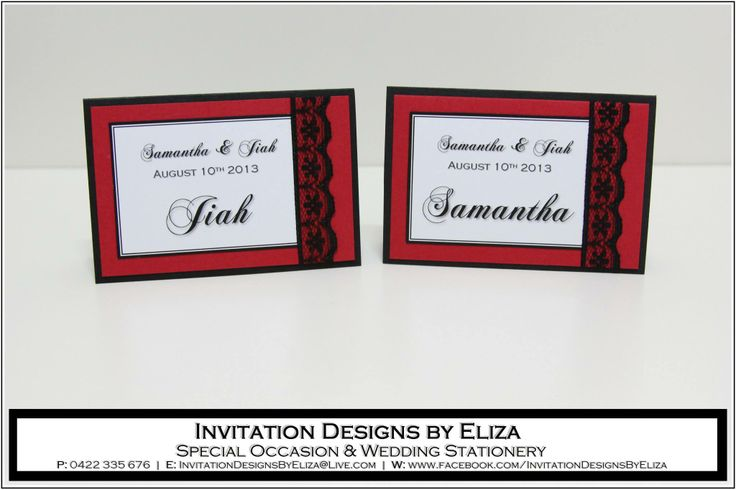 Place Card Designs  {Wedding} Black, White & Red Theme https://www.facebook.com/InvitationDesignsByEliza
