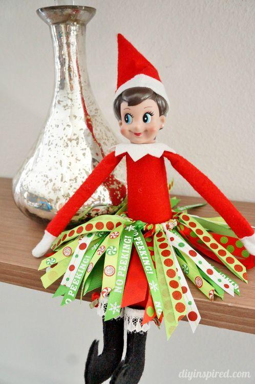 Elf on the Shelf DIY Ribbon Tutu with Tutorial