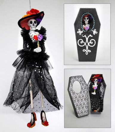 """Katherine's Collection Drop Dead Gorgeous Halloween Collection Set Two 13"""" Skeleton Ornaments In Coffin Boxes Free Ship"""