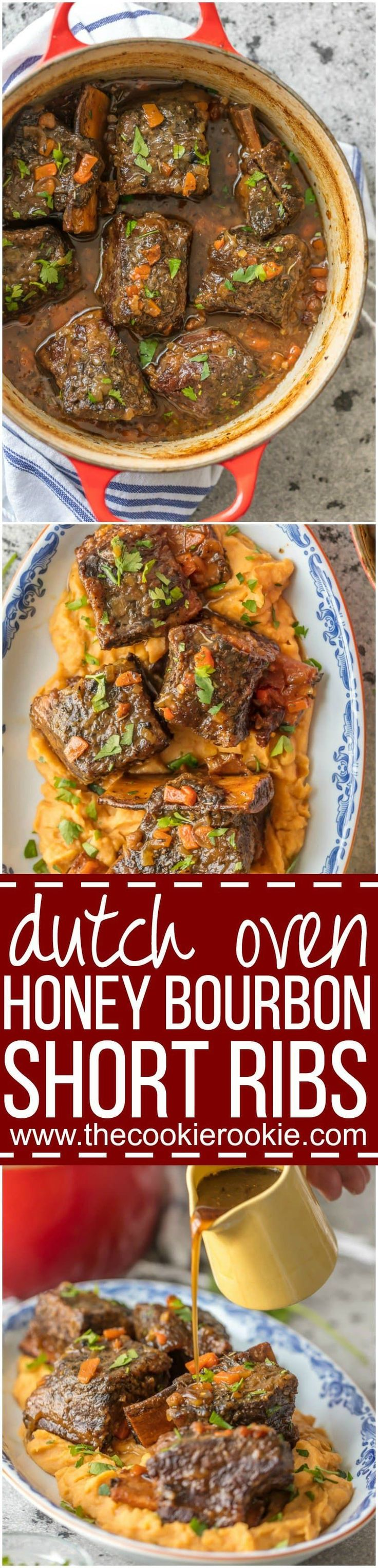 We love these DUTCH OVEN HONEY BOURBON SHORT RIBS! It's so easy to make these flavorful and fall off the bone ribs right in your dutch oven. Less cleanup and more flavor! via @beckygallhardin
