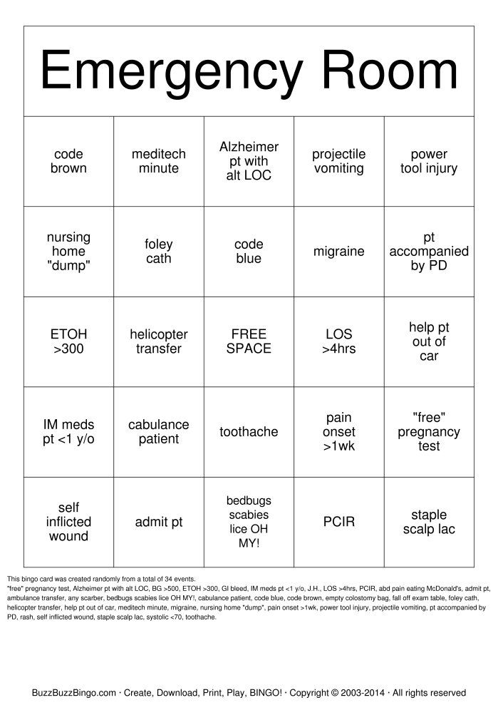 emergency room Bingo - Google Search