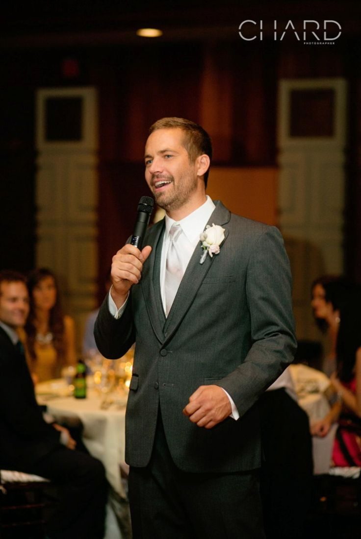 The action star happily took the mic to celebrate his brother Caleb's marriage to longtime girlfriend Stephanie on Oct. 19, 2013. The wedding took place at Dove Canyon Country Club in Rancho Santa Margarita, Calif.