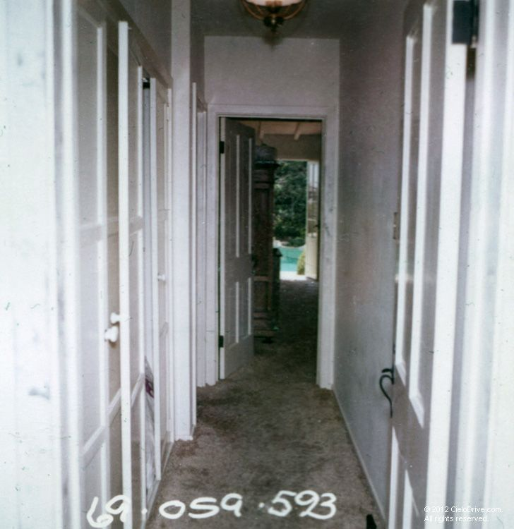 A view of the hallway leading from the living room down to the master bedroom. Abigail Folger attempted to escape by running down the hall a...