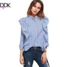 DIDK Blusas Para As Mulheres Camisa de Manga Longa Tops Senhoras Colarinho Banda Azul Listrada Vertical Escondido Botão Blusa Plissado(China (Mainland))