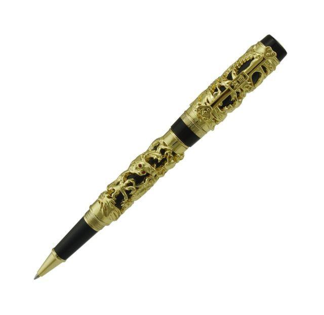 Lanxivi Jinhao Dragon Phoenix Gold Plated Roller Ball Pen Lucky Clip | eBay