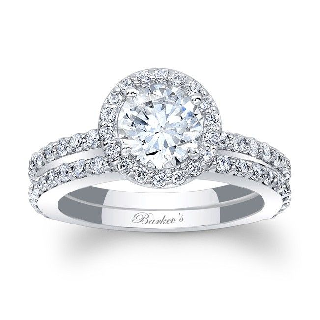 Spectacular Halo Bridal Set Stunning in vogue this white gold diamond halo engagement ring set will capture the eye of many admirers