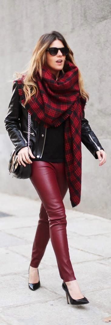 Black leather jacket and dark red pant