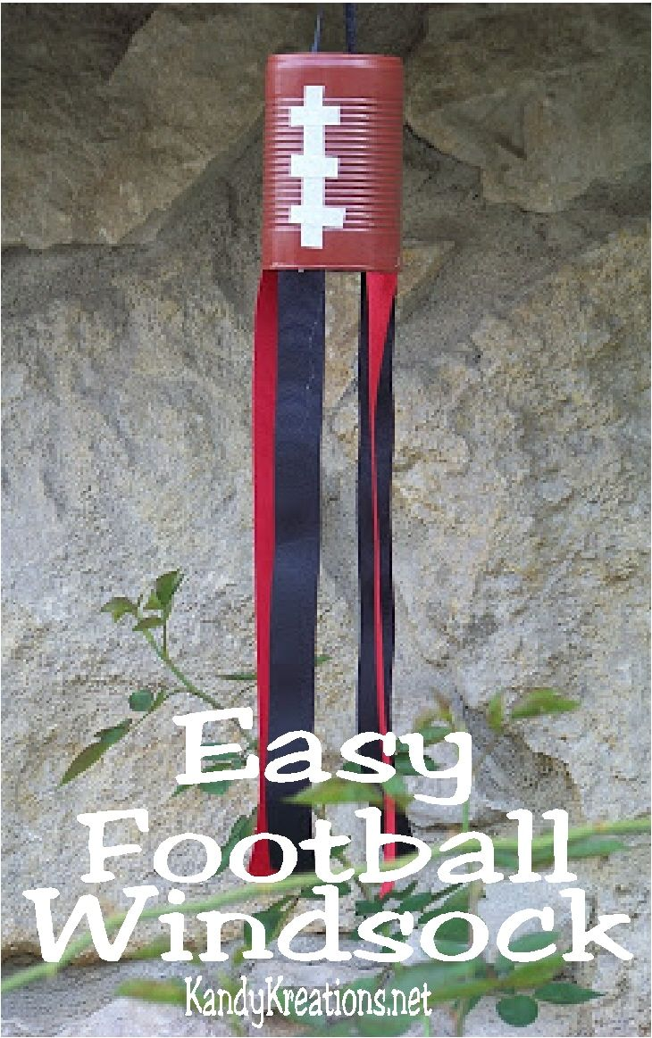 Get ready for Football season with these easy football windsocks.  This easy party decoration is perfect to make in your favorite team colors for a football party, tailgating afternoon, or just to support your favorite team!