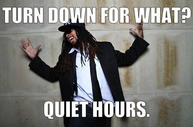 RA sign quiet hours